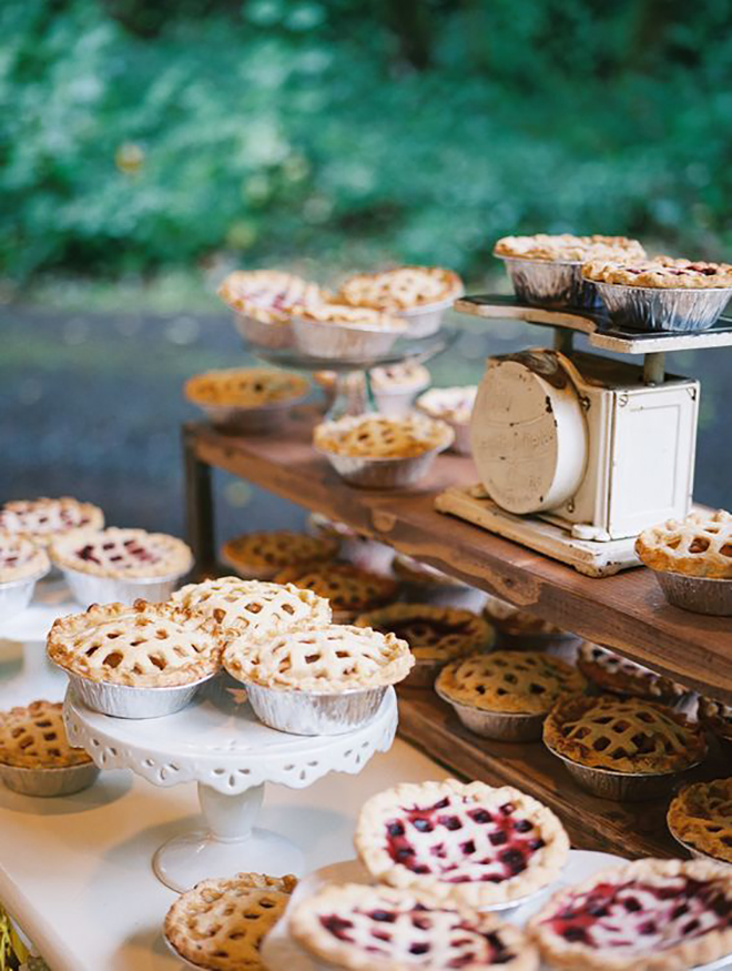 Pies make a perfect alternative to cake for your fall wedding.