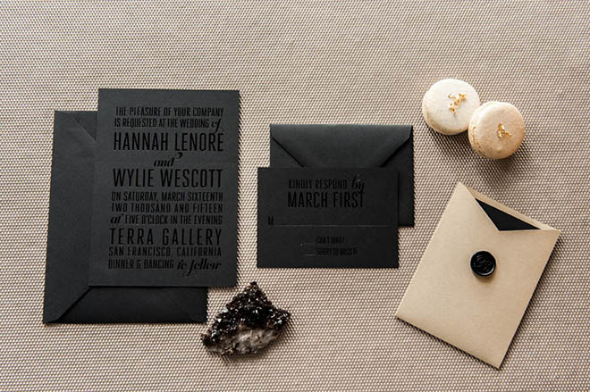 Black on black invites are cool and chic.