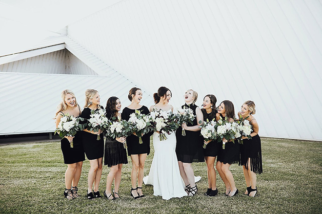 Black bridesmaid dress are a tide and true classic.