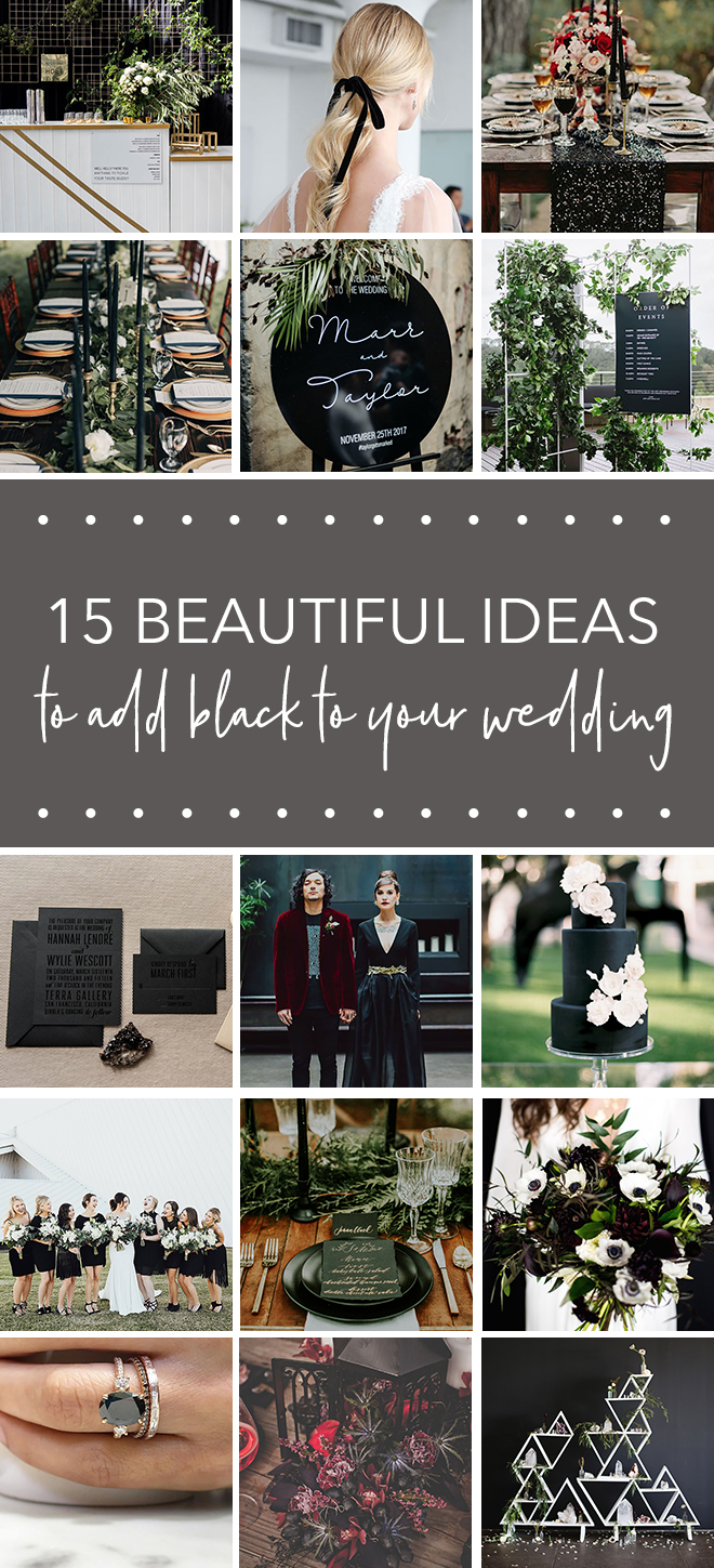 Beautiful ways to add black to your big day.