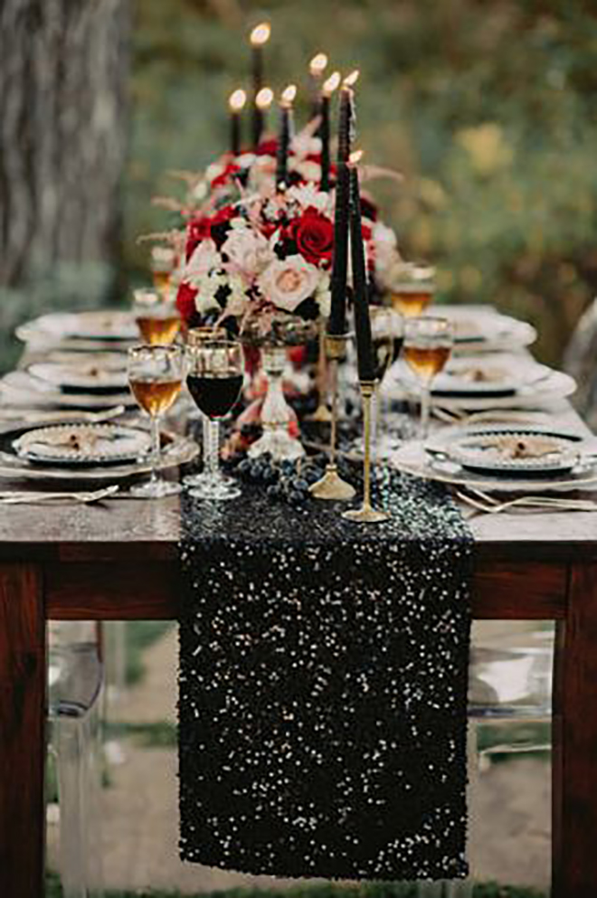 Add a black table runner to bring in the celestial hue.