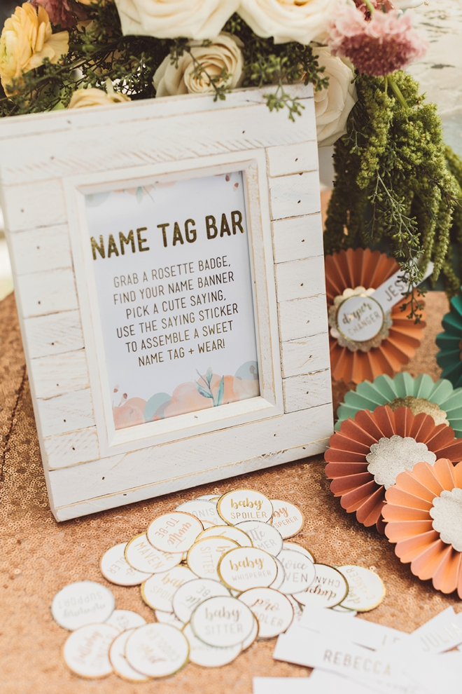 DIY Rosette Name Tag Bar for a baby shower