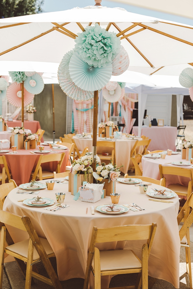 Gorgeous handmade mint and blush baby shower!