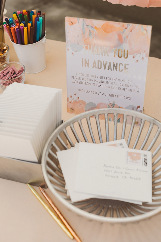 Fill out addresses on thank you cards for the mama-to-be!