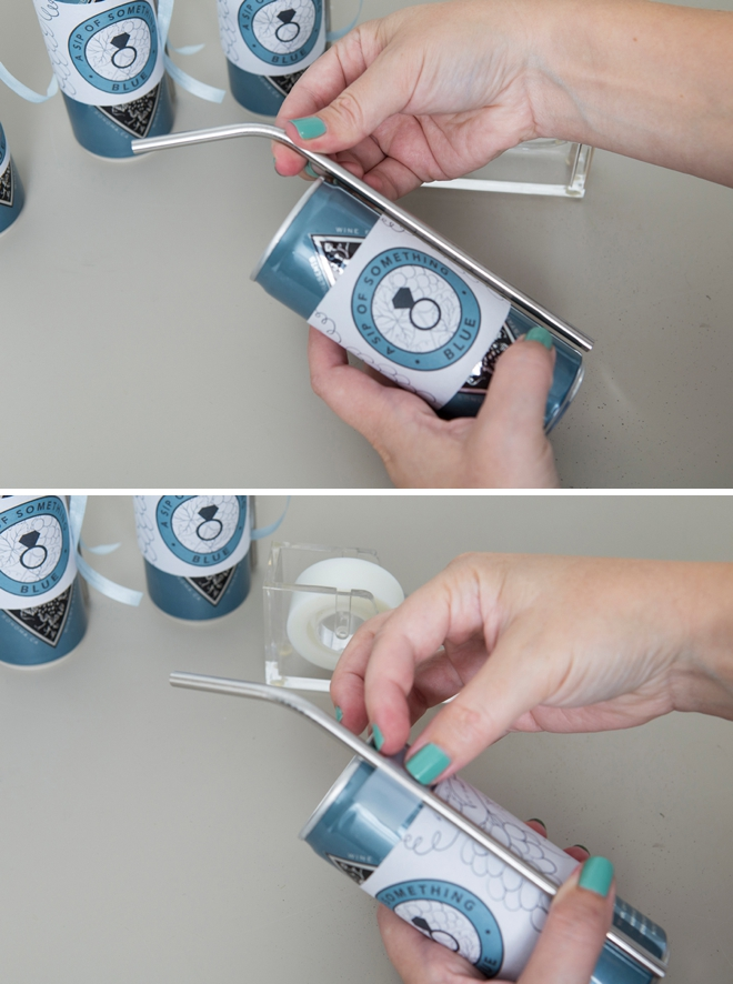 DIY A Sip Of Something Blue, wine in a can favors!