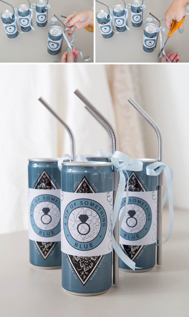 These DIY something blue wine favors are the absolute cutest!