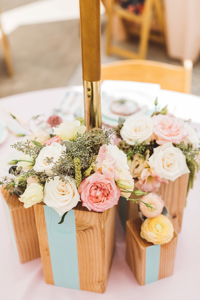 Learn how to make your own wood block vase centerpieces!