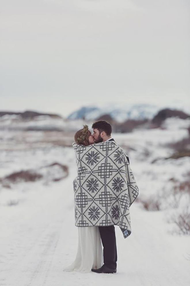 Must have winter wedding photos, blanket wrapped.
