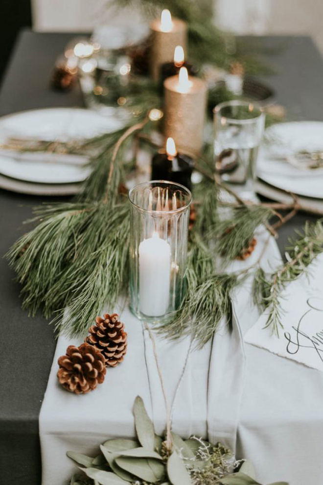 Must have winter wedding photos, the festive table shot.