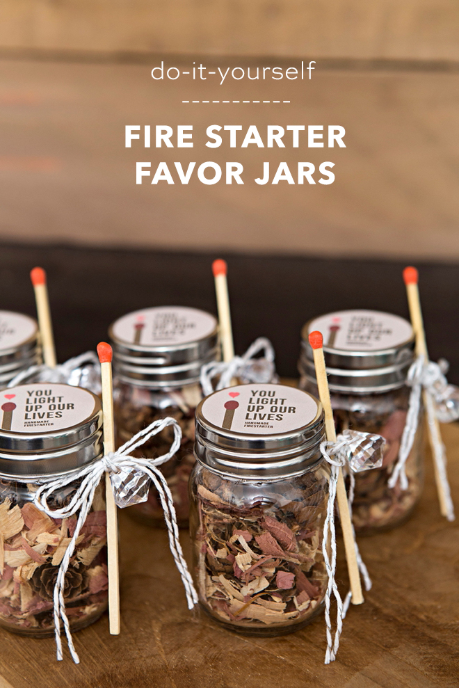 These DIY fire starter favor jars are the absolute cutest!