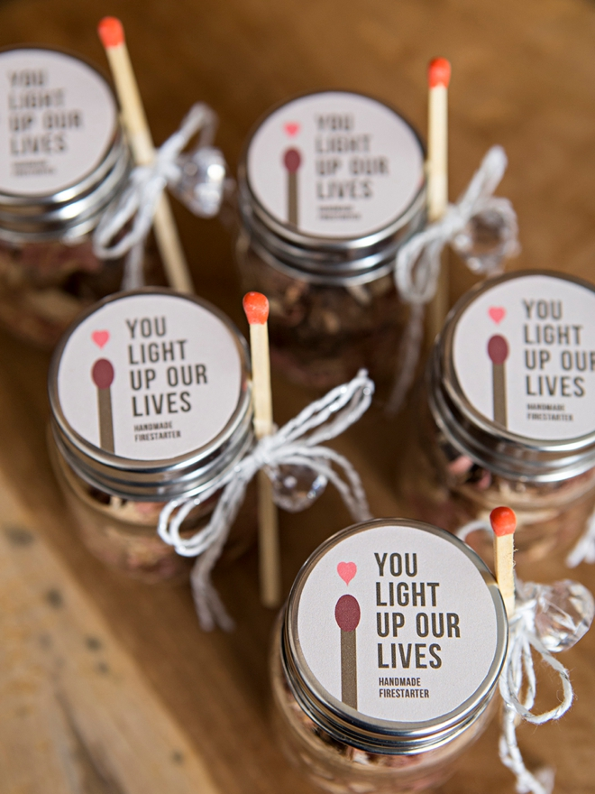 Make your own fire starter wedding favors!