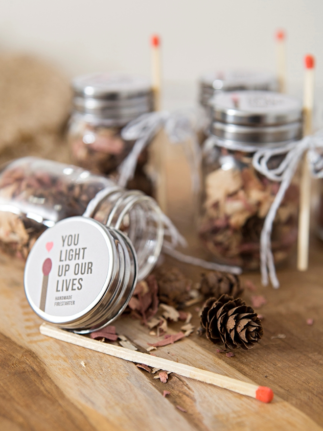 Make your own fire starter wedding favors!