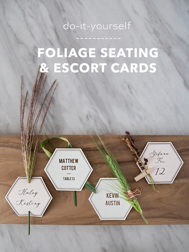 Gorgeous DIY seating and escort cards with leaves and grass!