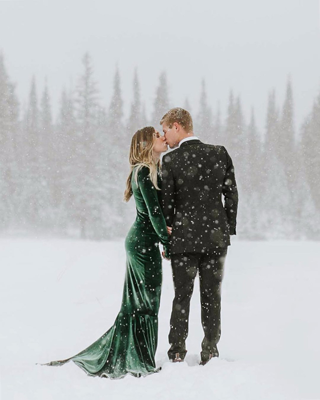 Would you dare to wear a show stopper dress for your winter wedding?