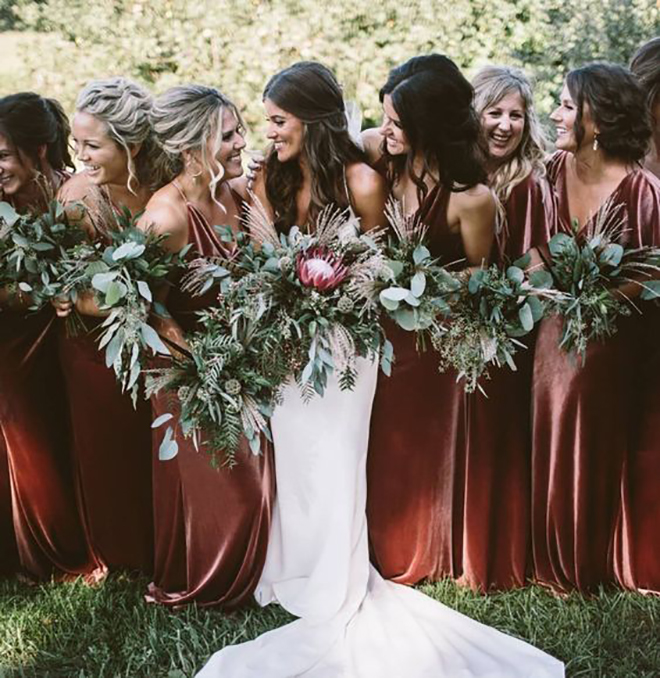Velvet clad bridesmaids - must have winter wedding photo.