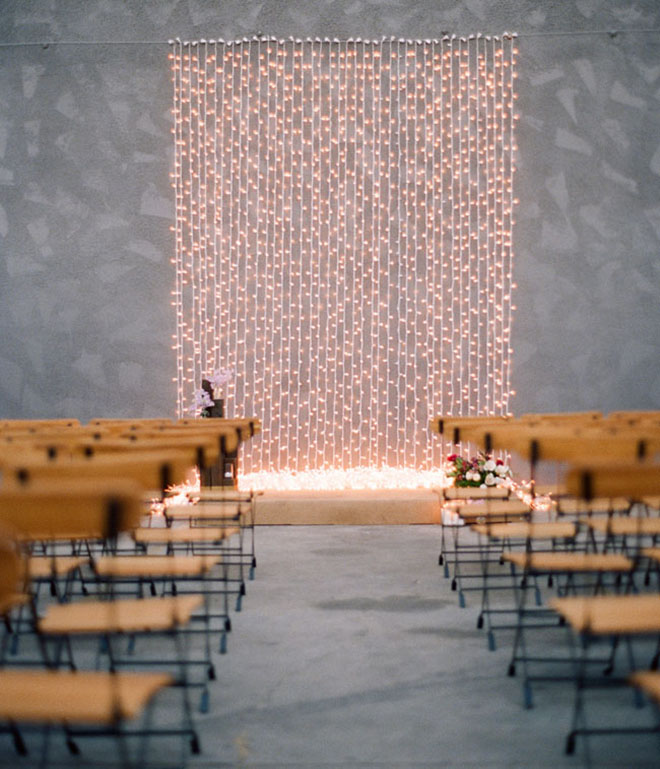 Must have winter wedding photos, twinkle light moment.