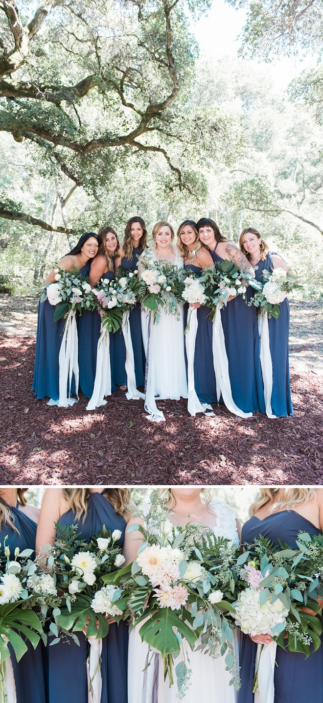 We are loving these stunning blue bridesmaid dresses and how they pop against their gorgeous bouquets! Don't miss this adorable handmade Santa Cruz wedding!