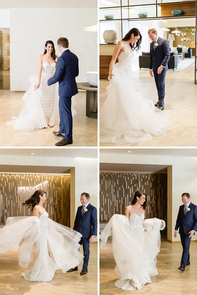 We love this Groom's super sweet reaction to seeing his Bride at their first look! You're not going to want to miss this gorgeous Cabo wedding!