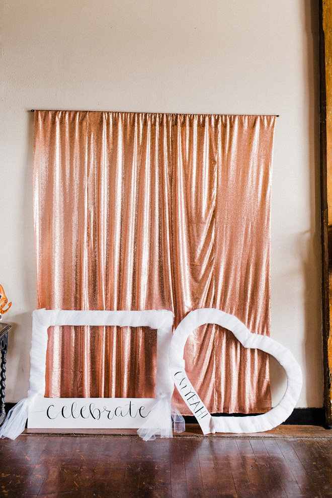 This simplistic and modern rose gold stunner of a photo booth wowed us!