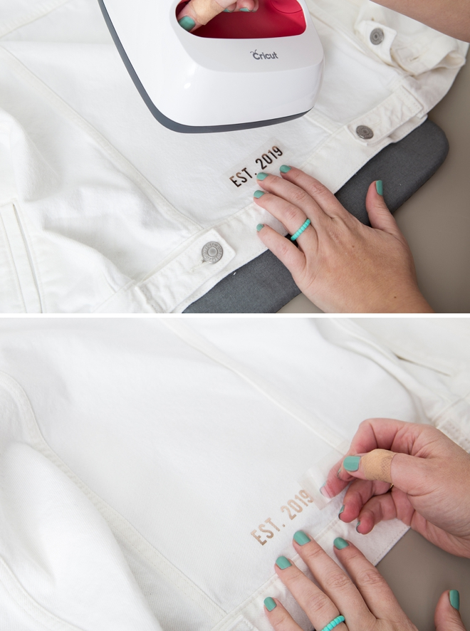 Use your Cricut to personalize these gorgeous wedding jean jackets!