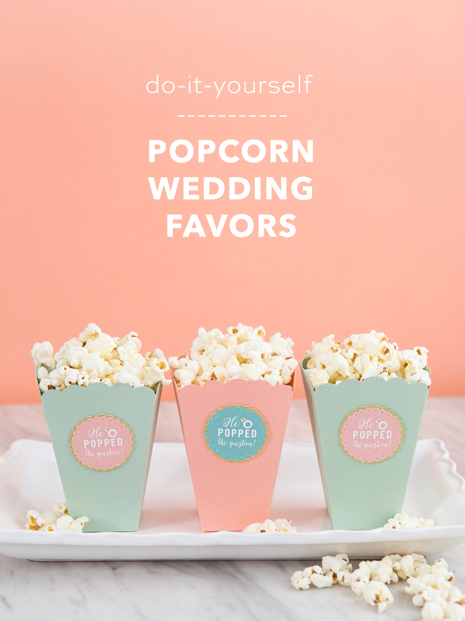 Make your own popcorn engagement party favors with Cricut!