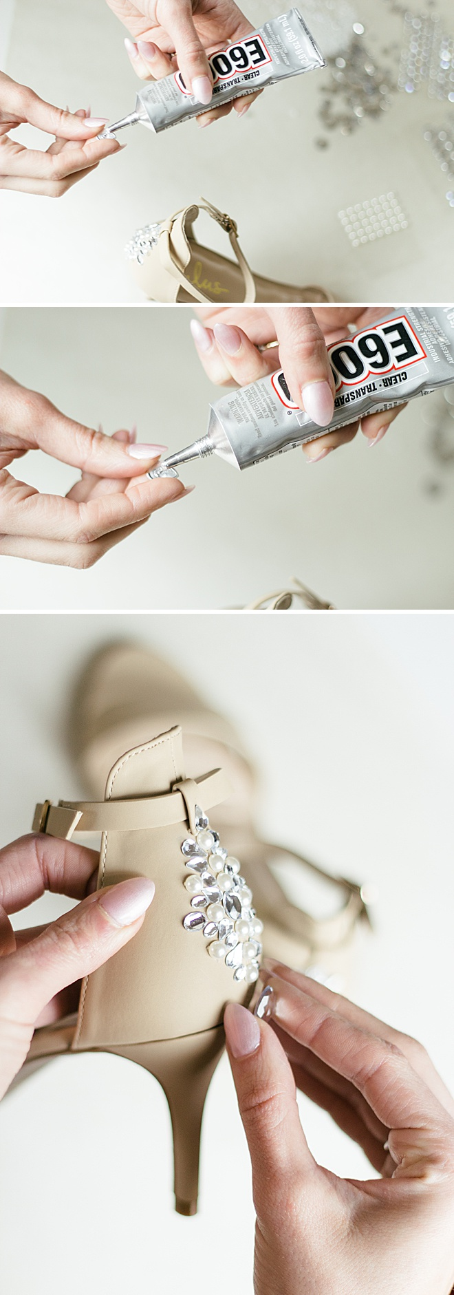 Sparkle on your wedding day with these DIY rhinestone heels!
