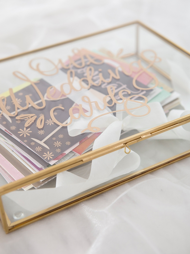 This DIY glass wedding card box is gorgeous!