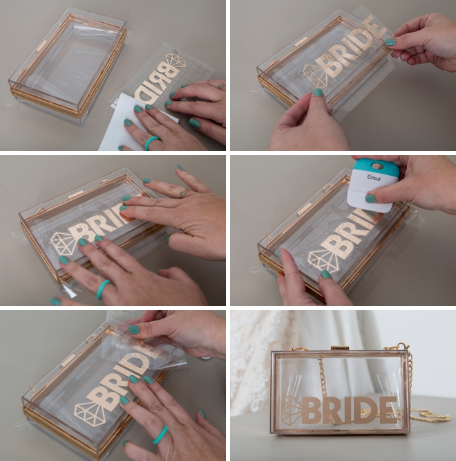These personalized clear acrylic wedding clutches are stunning!