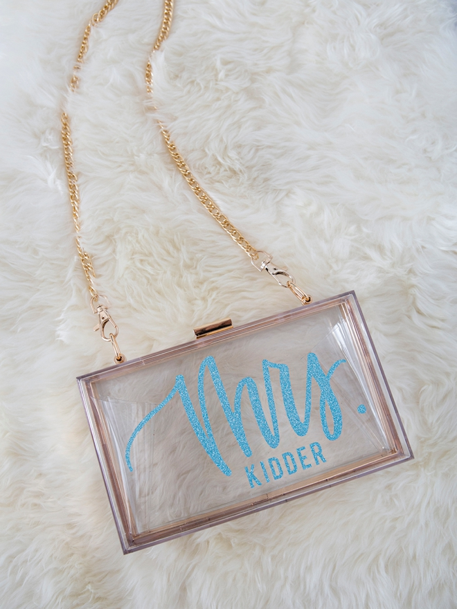 Learn how to personalize your own clear acrylic wedding clutch!