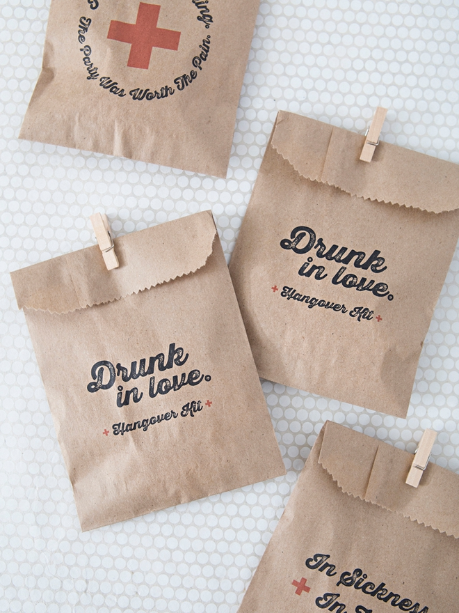 Printable Drunk in Love hangover kit bags!
