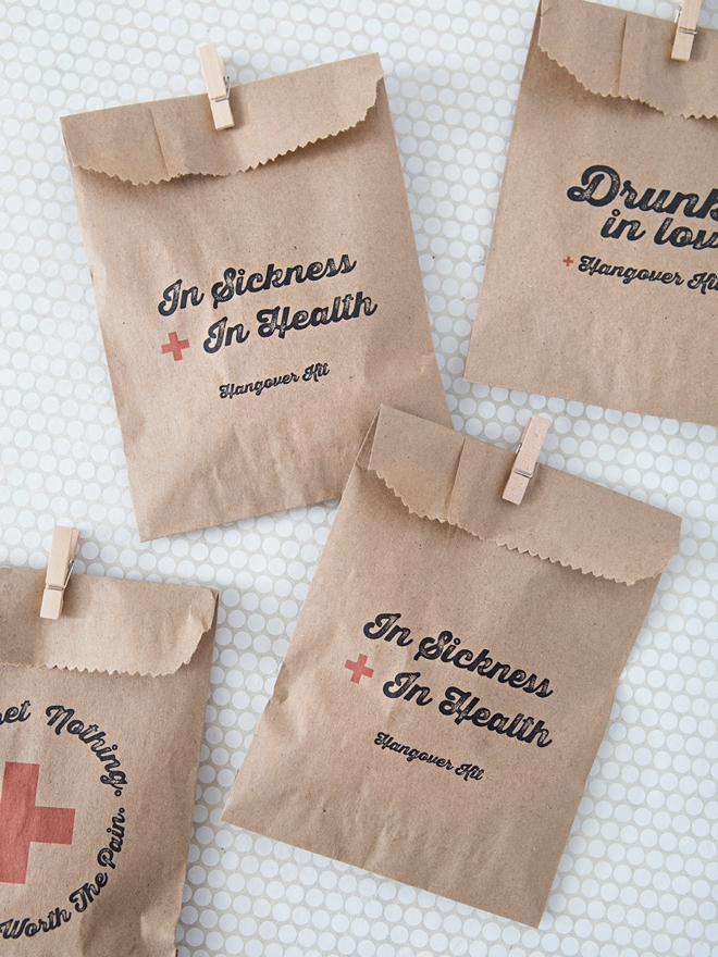 Printable In Sickness and In Health hangover kit bags!