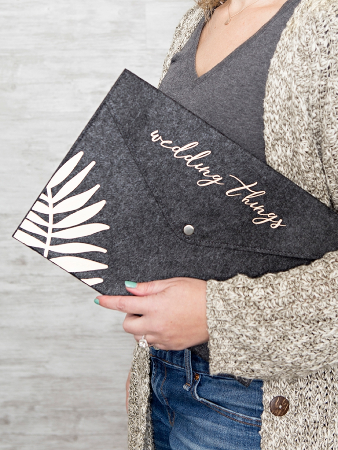 Personalize these gorgeous felt file folders to hold all your special wedding things!