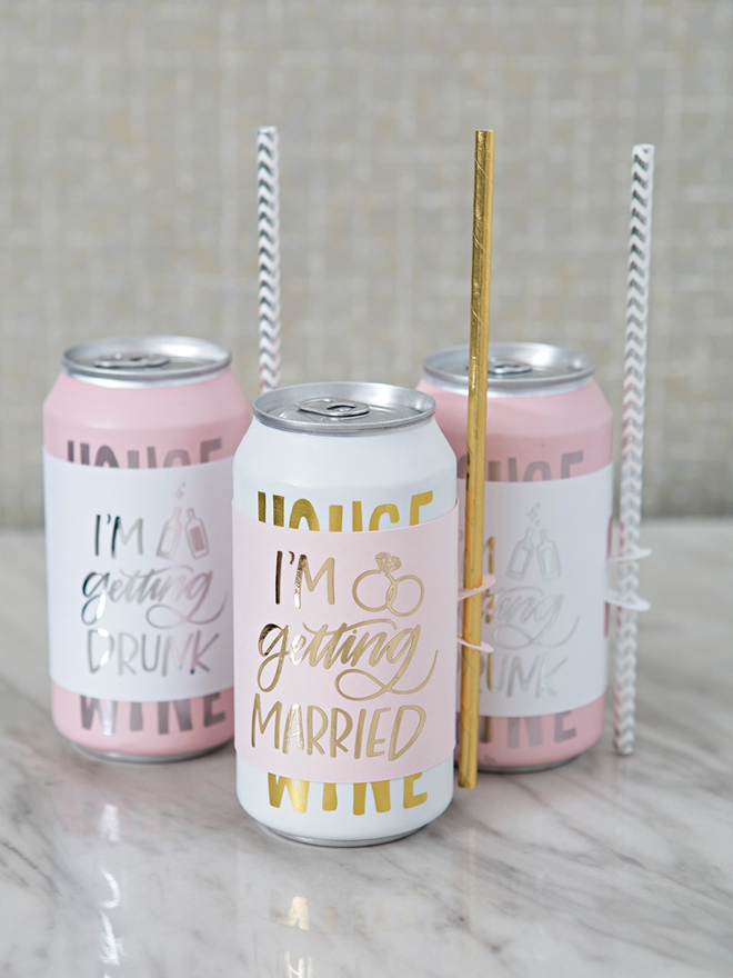 The best wedding wine gifts, the label holds the straw!