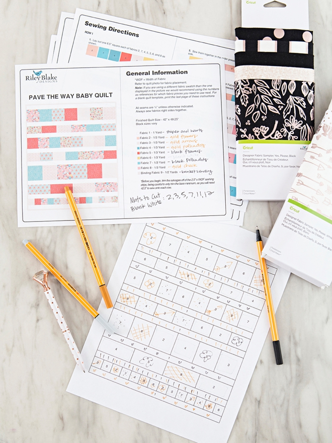 Pave the Way Quilt planning with Cricut