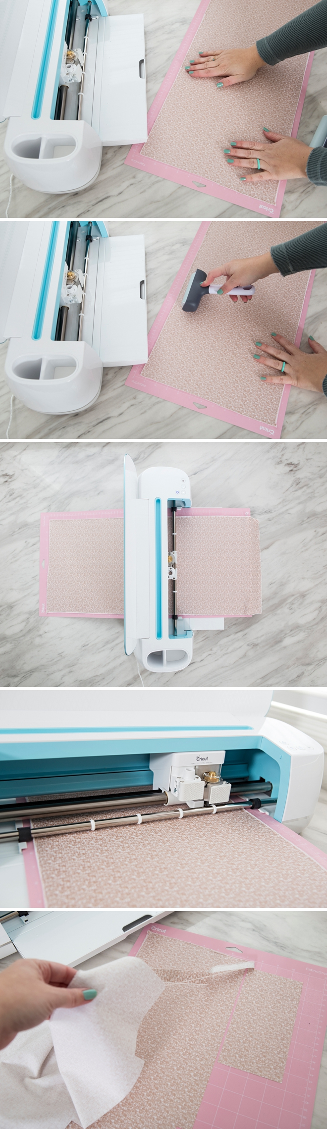 The Cricut Maker cutting quilt fabric!