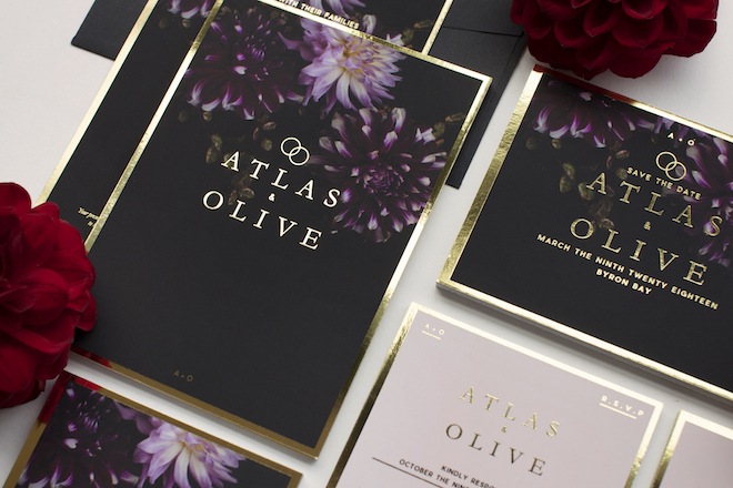 These dark floral wedding invitations are stunning; I love how unique they are and that you can customize them.