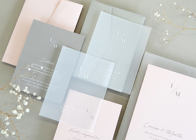OMG this vellum wedding invitation suite is to die for; I love the pastels.