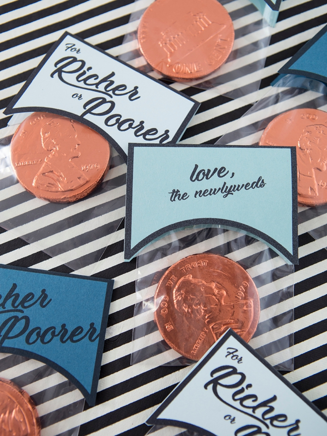 Learn how to make these darling richer or poorer chocolate coin favors, so cute!
