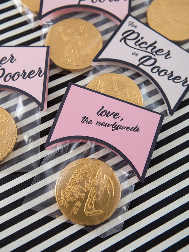 DIY For Richer or For Poorer Chocolate Coin Wedding Favors!