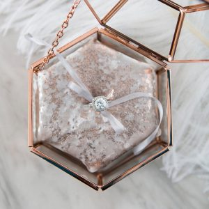 Wedding Classic Style Glass Hexagon Glass Container Box Copper Strip Gold//Y