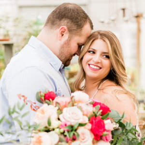 Everything about this STUNNING engagement session is our favorite! From the gorgeous couple, to her bouquet to adorable goats! We love it!