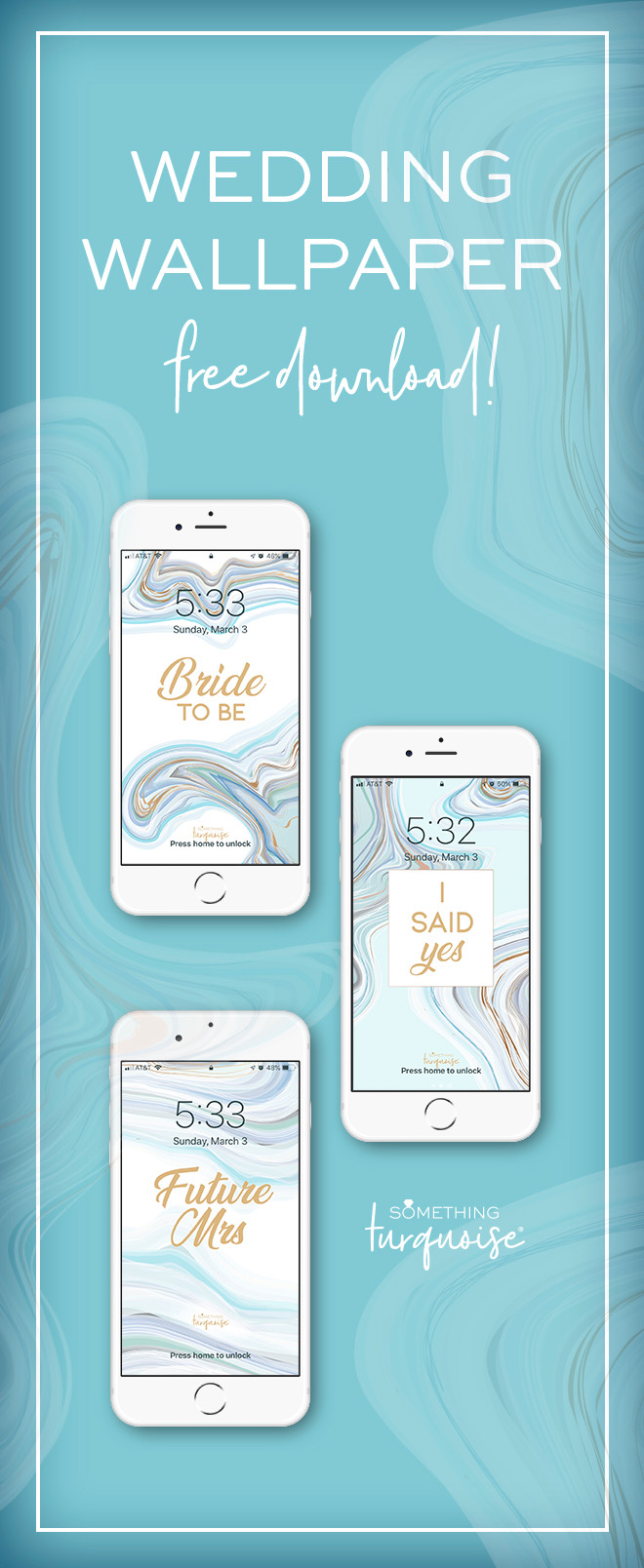 Gorgeous turquoise and aqua agate Bride to Be smart phone wallpapers! Free download!