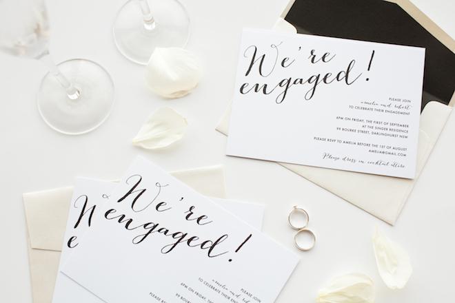 Minimalist engagement invitations. So classic and stylish!