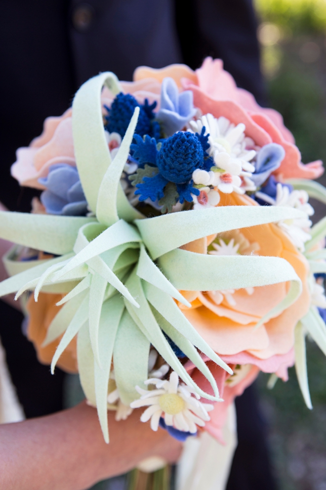 Learn how to make the most adorable felt flowers for a wedding bouquet!