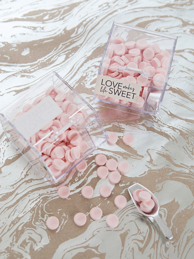 Make your own mini candy bin favors with our printable labels in 8 colors!