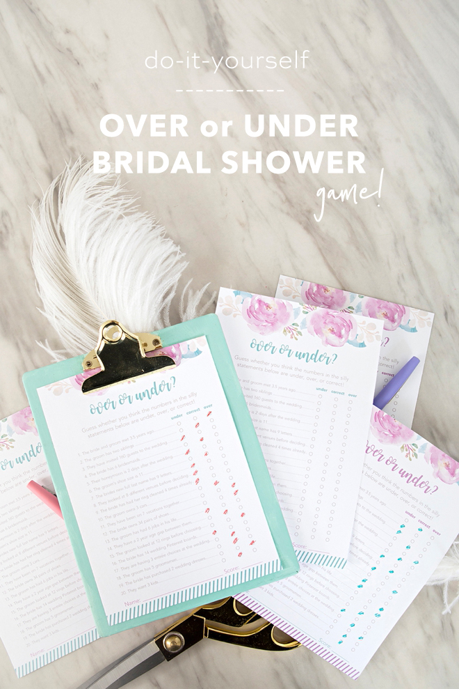 Adorable free printable Over or Under bridal shower game!