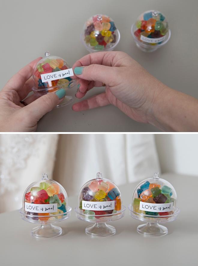 Make your own mini cake stand favors full of mini gummy bears!