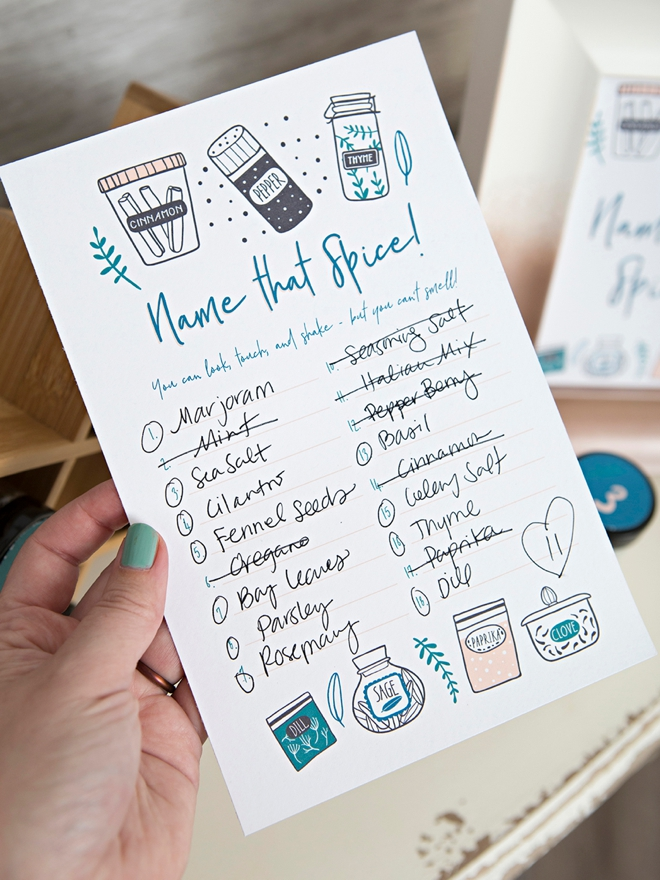 Adorable DIY Name That Spice bridal shower game!
