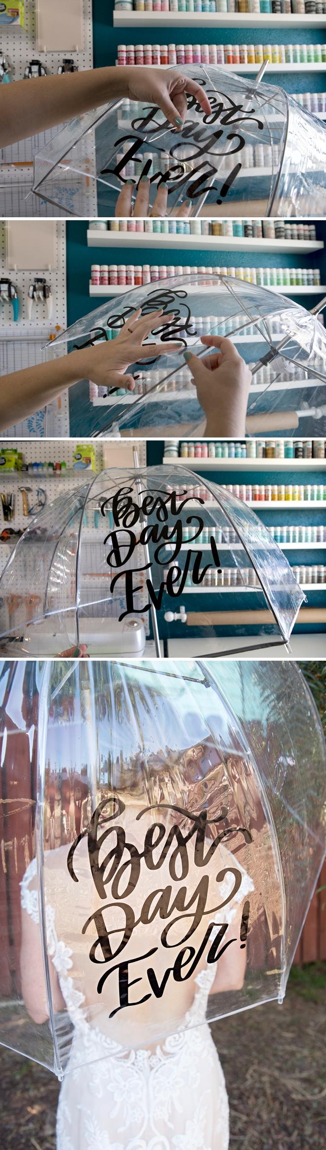 This DIY Best Day Ever wedding umbrella is darling!
