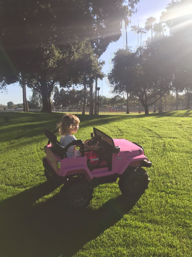 Pink mini Jeep sibling gift